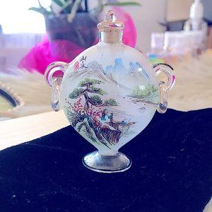 🐉Vtg Peking Glass Chinese Reversed Painted Bottle